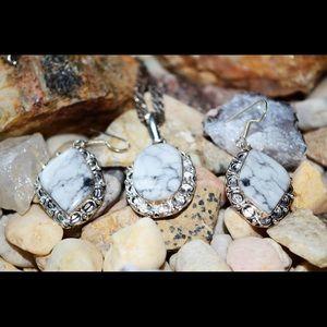Howlite Pendant & Earrings Set